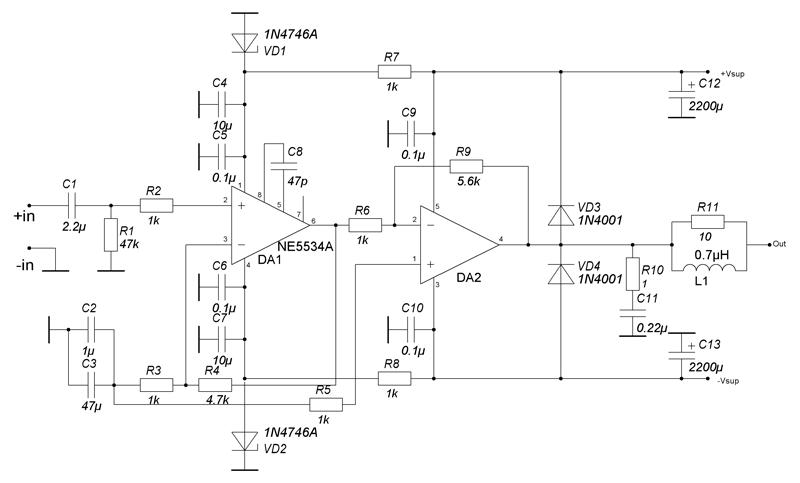 В качестве буфера я выбрал недорогой и распространенный ОУ NE5534A, созданный для применения в звуковом тракте.
